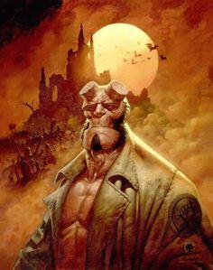 Artist: Greg Staples I need to finally read some Hellboy. Mike Mignola, Comic Book Characters, Comic Books Art, Dark Comics, Moon Painting, Geek Art, Comic Artist, Fantasy Art, Cool Art
