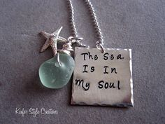 Hand Stamped Beach necklace with Sea glass starfish  charm. $58.00, via Etsy.  This does speak to me!