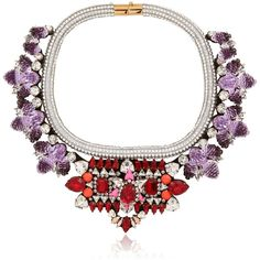 Shourouk Women Avalon Necklace ($755) ❤ liked on Polyvore featuring jewelry, necklaces, shourouk, purple, swarovski crystal jewelry, swarovski crystal necklace, shourouk jewelry and sequin necklace