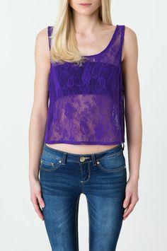 Purple Floral Lace Crop Top