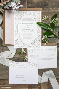 Lia Griffith   FREE Printable Rustic Wedding Invitations (3 color schemes)