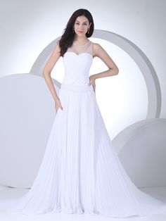 Structurely Pleated Chiffon Wedding Gown with Sheer Shoulder Design Brands:TOSCAFreeship:YESFabric:Chiffon/TulleFabric(main):WeddingTailoring Time (Standard):15-20 DaysTailoring Time (Rush Order):10-15 DaysSilhouette:A-LineNeckline:RoundSleeve Style:SleevelessWaist:DroppedBack Detail:ZipperTrain:Court TrainEmbellishment:Beading/RuchingFully…