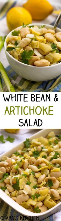 White Bean and Artichoke Salad - A fresh, flavorful & easy to toss together White Bean and Artichoke Salad with a light lemon dijon vinaigrette. Always a hit at family parties & lunches! #healthy #glutenfree #salad #vegan