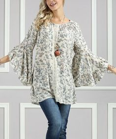 Loving this Cream Floral Bell-Sleeve Tunic - Plus Too on #zulily! #zulilyfinds