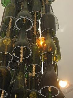 wine bottle lighting - could be an alternative christmas tree