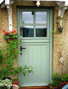 6 weeks till this is mine! Green stable door - The Limes Cottage Front Doors, Cottage Door, House Doors, Cabin Doors, White Cottage, Rose Cottage, Half Doors, Windows And Doors, Upvc Stable Doors