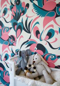 Love Birds JUST KIDS WALLPAPER #kidsrooms #kidswallpaper
