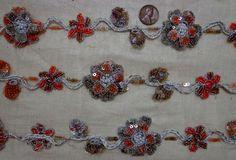 * Vintage Antique Border Sari Trim Lace GLASS BEADS 3 ft SMsr5685 Orange c#00HOZ