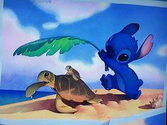 Stich with the turtle's family #Lilo and Stich #Stich #turtle