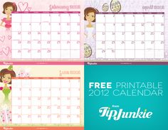 free 2012 calendar printable