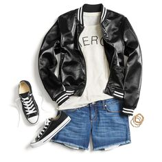 Sport an of-the-moment bomber jacket with a conversational tee and jean cutoffs for a casual, cool look. Shorts shown are a bit too short for my taste though. Cute Outfits With Shorts, Other Outfits, Short Outfits, Cool Outfits, Casual Outfits, Stitch Fix Outfits, Cut Off Jeans, Stitch Fix Stylist, Punk
