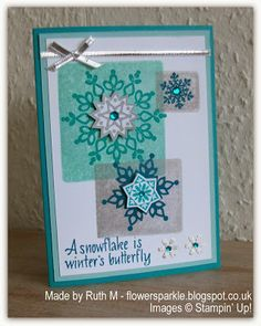Flower Sparkle: Snowflake Winter's Butterfly Card - Acrylic Block Background
