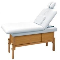 """KEEN Salon/Spa Serenity Massage Bed Features: Blond Wood Cabinet for Storage Includes Drawer & Sliding Doors On Both Sides, White Upholstery 30"""" Wide Bed, Adjustable Head Rest, Back Can Be Adjusted Between 25""""- 35"""", Tested To Static Weight of 1000 lbs. $799.00 + FREE Shipping on ALL Salon Equipment!"""