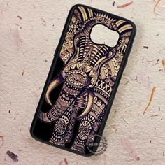 Aztec Elephant on Black Tattoo Art - Samsung Galaxy S7 S6 S5 Note 7 Cases & Covers
