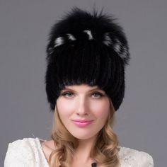c5451230361 18 Winter Mink Fur Straw Cap Female Side Flower Cap Ear Guard Mink Fur Cap  Winter