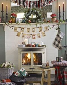 Country Living Room with Cream Festive Fireplace
