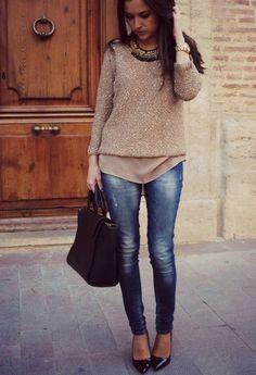Brown blouse, blue jeans, black handbag heels. Fall fashion. Women street outfit