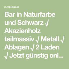 Bar in Naturfarbe und Schwarz √ Akazienholz teilmassiv √ Metall √ Ablagen √ 2 Laden √ Jetzt günstig online entdecken! Bar, Metal, Black