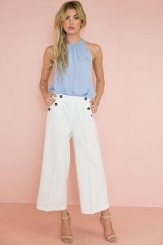 Hamptom High Waisted Culotte Pant - White – Haute & Rebellious