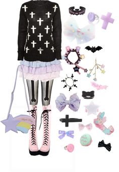 """""""Pastel goth #3"""" by twisted-candy on Polyvore"""