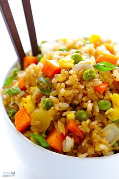 How To Make Fried Rice. Learn how to make this scrumptious and delicious fried rice for dinner or lunch so full of flavor and taste. Rice Recipes, Yummy Recipes, Asian Recipes, Great Recipes, Vegetarian Recipes, Dinner Recipes, Cooking Recipes, Favorite Recipes, Healthy Recipes