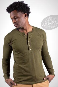 Sheehan & Co. Henleys, Long Sleeve Henley, Henley Shirts, Vintage Colors, Mens Fashion, Fashion Trends, Vintage Inspired, Fabrics, Usa
