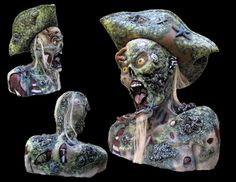 Unlike many other zombie props our Pirate Zombie is detailed out a full 360 degrees. He is not blank on the back like most others. This is our Keeper Pirate Zombie!! He will keep your brains in his belly!