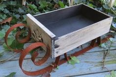 Antique Dresser Drawer Repurposed Primitive Country Christmas Rusty Sleigh Sled