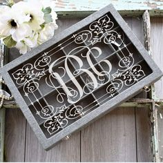 Jewelry Box Gray - Engraved Monogrammed Jewelry Box - All Products Monogram Keychain, Jewelry Tray, Monogram Design, Custom Engraving, Fabric Covered, Custom Items, Party Gifts, Custom Jewelry, Personalized Gifts
