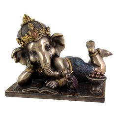 Young Ganesh (Ganesha) Reading with Mouse 6 Inches in Width - Hindu Elephant God of Success - Absolutely Beautiful Sculptural Artwork