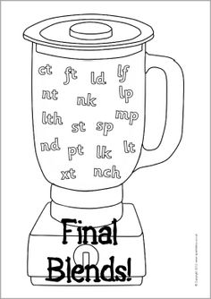 Printable visual aids showing final consonant blends in a blender. Includes black and white version ideal as an assessment sheet. Consonant Blends, Visual Aids, Finals, English, School, Final Exams, English Language