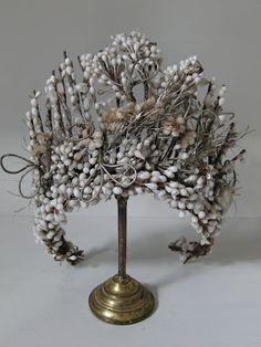 ~Victorian wedding headdress, made with wax flowers. c1880~