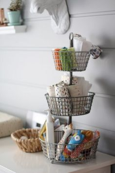 How cute would one of these baskets be on a changing table? Could perfectly hold all you'd need for changes. Love this!