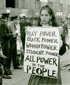 Protestor at gay rights demonstration in 1970. Photograph by Diana Davies @historylvrsclub