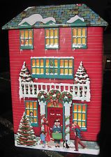 KELSEN Silver Crane RED Christmas Village House Tin Box Container Canister