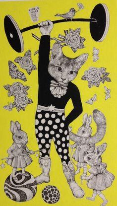La joven ilustradora Higuchi Yuko realiza estas inquietantes ilustraciones, donde la ingenuidad de los gatos humanizados se entrelaza con el potencial peligro de las setas y hongos venenosos&#823…