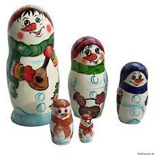"""Matroschka Babuschka Matryoshka """"Schneemann Familie"""" Set aus 5 Puppen, 16 cm"""