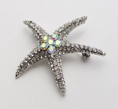 Starfish Brooch Pin. Crystal Star Fish Broach Embellishment Beach Wedding Jewelry Gift