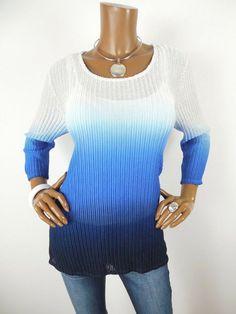 a1d5d2349128e7 CHICO S Sz 2 Womens Top L Casual Shirt Blue White Fade Textured Mesh 3