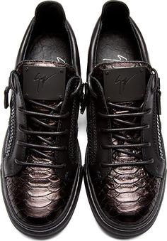 Giuseppe Zanotti: Black Snakeskin Sneakers