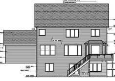 Cottage Craftsman Traditional Rear Elevation of Plan 99384