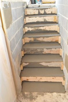 17 New Ideas poured concrete stairs staircases Concrete Stairs, Concrete Forms, Poured Concrete, Concrete Projects, Smooth Concrete, Basement Steps, Basement Entrance, Outdoor Steps, Building Stairs