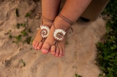 Seashell Crochet Baby Barefoot Sandals Baby Foot by barmine