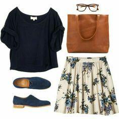 Oxford x floral x azul