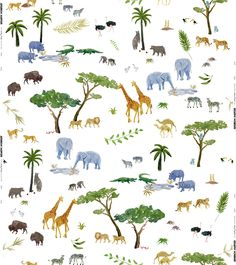 Noah Multi Fabric full pattern repeat. Lions, tigers, zebras and even dodo's…