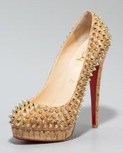 I would totally wear these. Christian Loubs  spike cork pump
