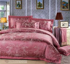 高品質シルクとコットンゴージャス印刷プリティ4ピース寝具セット