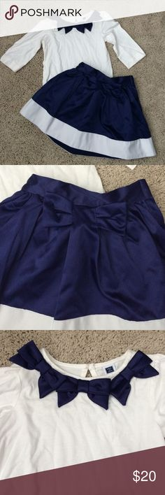 Janie and Jack outfit EUC Size 3 dress and top with satin bows Janie and Jack Matching Sets