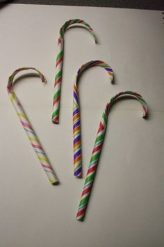 paper candy canes - happy hooligans - easy Christmas crafts for kids