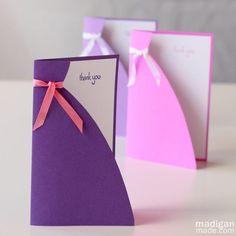 simple handmade card idea - dress card perfect for mom, bridesmaids or birthday girls. Pretty Cards, Cute Cards, Diy Cards, Handmade Greetings, Greeting Cards Handmade, Dress Card, Wedding Crafts, Handmade Birthday Cards, Diy Birthday